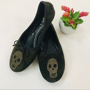 6fe38ef1701 Ash Olive Green loafers with Skull design